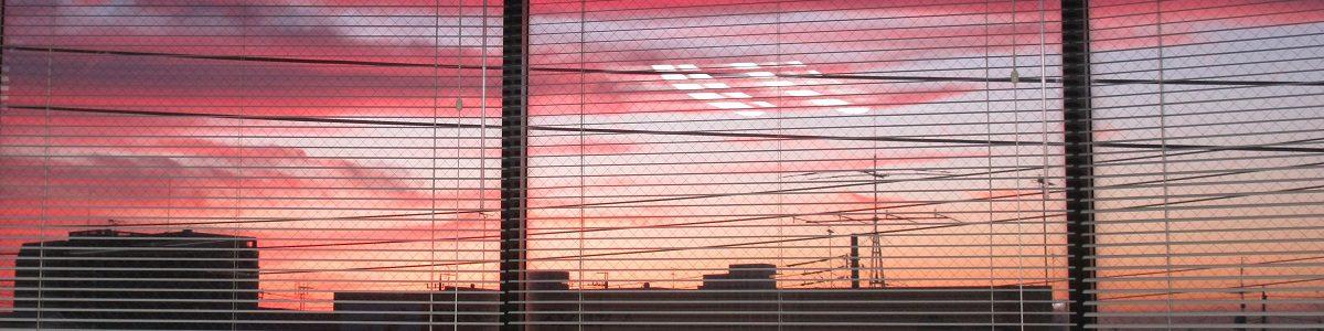 診療室から見た夕焼けです。